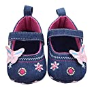Voberry® Baby Girls Soft Soled Butterfly Crib Moccasins Canvas Mary Jane Shoes (0~6 Month, Blue)