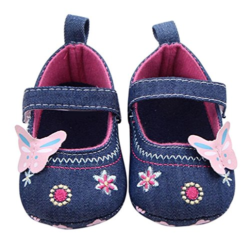 Voberry® Baby Girls Soft Soled Butterfly Crib Moccasins Canvas Mary Jane Shoes (12~18 Month, Blue)