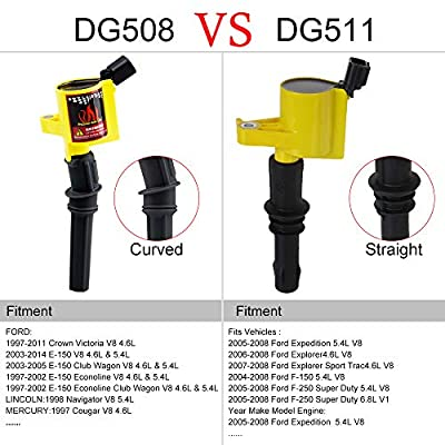 Big Autoparts DG508 Curved Boot Ignition Coil for Ford F150 F250 Lincoln Mercury 4.6L 5.4L V8 V10 DG457 FD503, Yellow: Automotive