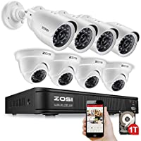 ZOSI 8-Channel 720p AHD Security Camera System,1080N DVR Recorder (1TB Hard Disk Built-in) and (8) 1.0MP 1280TVL Indoor/Outdoor Weatherproof Surveillance Cameras with IR Night Vision LEDs