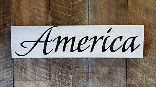 America Sign Horizontal - Carved in a Wood Board Rustic Distressed Kitchen Farmhouse Style Restaurant Cafe Wooden Wall…