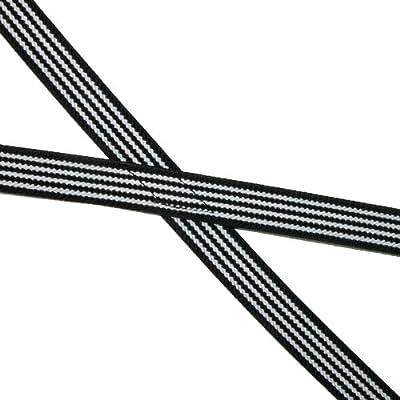 CTM Women's Elastic X-Back 3/4 Inch Black and White Pinstripe Suspenders