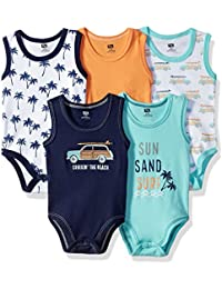 5 Pack Sleeveless Cotton Bodysuits