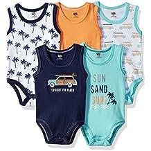 Hudson Baby 5 Pack Sleeveless Cotton Bodysuits