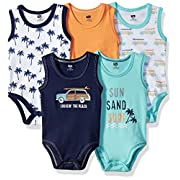 Hudson Baby Baby Sleeveless Bodysuits, 5 Pack, Little Surfer, 9-12 Months