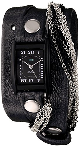 - La Mer Collections Women's LMMULTICW1019-GNM Watch with Black Leather Wrap-Around Band