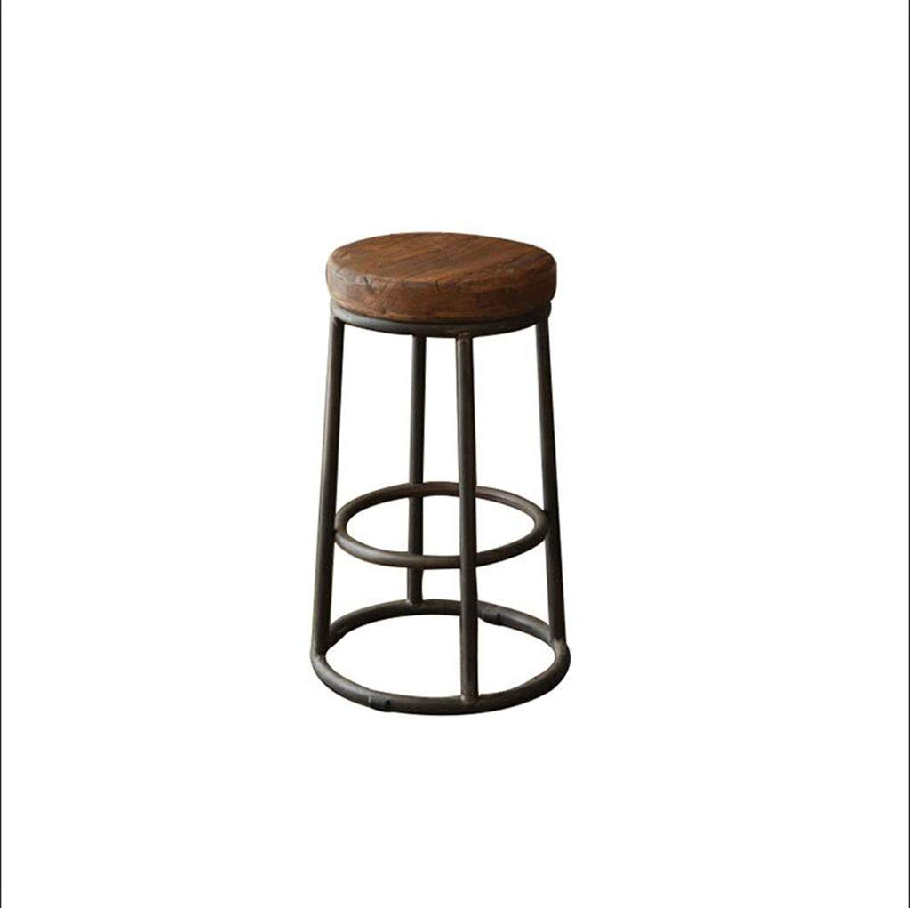 Black (stool leg)+coffee color 50cm FU CHAIR Vintage Wrought Iron Lounge Stool Cafe Bar Restaurant High Chair Metal Round Wooden Stool, Size 45cm, 50cm, 55cm, 60cm, 65cm, 70cm, 75cm