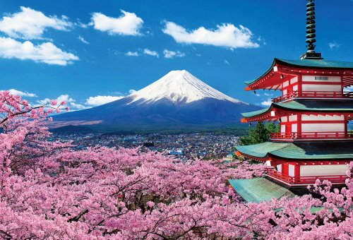 1000pieces Mt.Fuji and Shrine with cherry blossom