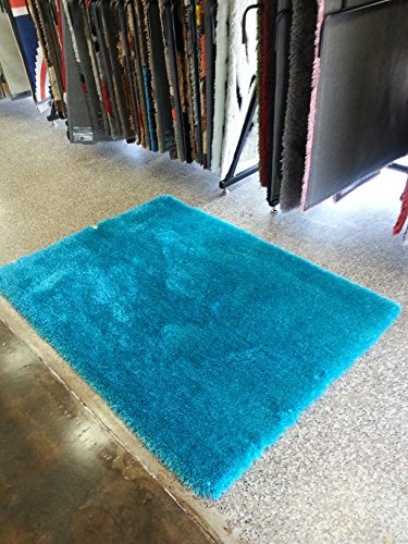 Admirable Turquoise Shaggy Viscose Solid Pattern Area Rug, ~4ft x 6ft , On Sale! (Shag Rugs On Sale)