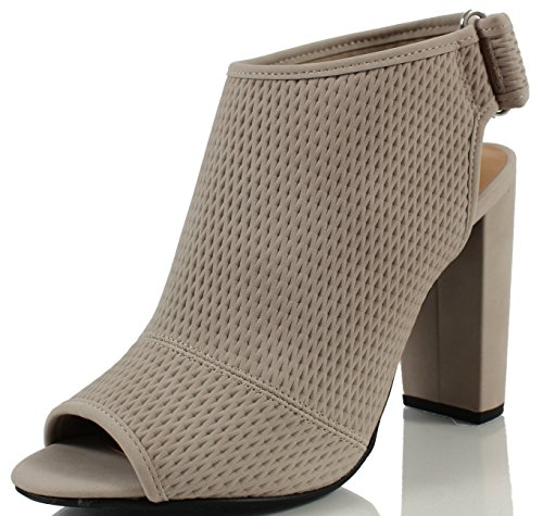 Delicious Women's Afina Faux Nubuck Leather Perforated Slingback Peep Toe High Heel Ankle Boot