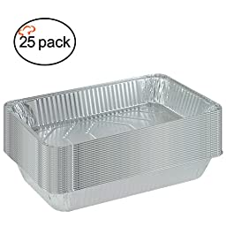 TigerChef TC-20541 Durable Full Size Deep Aluminum Foil Steam Table Pans with Recipe Card, Multi-Purpose Disposable Pans, 21\