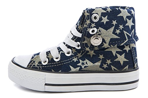 Dok Sneakers High Top Fold Down Canvas Lace up Shoes (7, Navy Star)