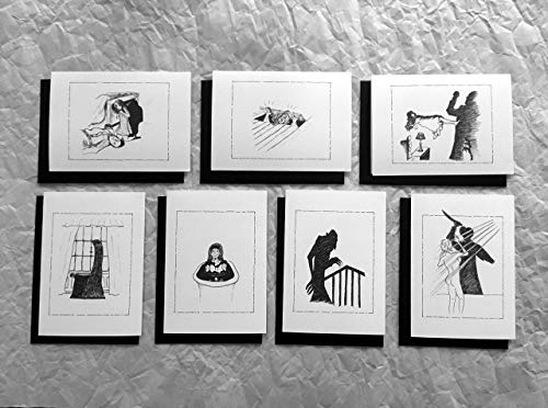 Horror Movie Classics Greeting Cards (Pack I) 7 Cards & Black Envelopes, PLUS a FREE Silver Pen!