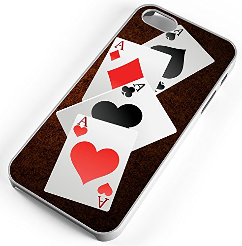 iPhone 7 Plus 7+ Case Four Aces Good Poker Hand Customizable TYD Designs in White Plastic ()