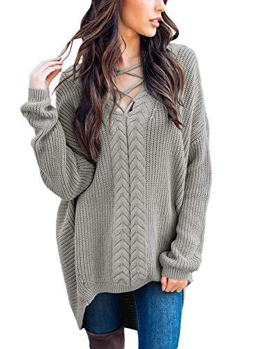 AlvaQ Women Juniors Pullover Asymmetric Hem Sweaters Autumn Winter Plus Size Chunky Crisscross V Neck Long Sleeve High Low Tunic Knit Sweatershirts Grey Large