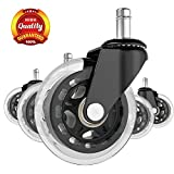 "SPLAKER Office Chair Caster Wheels - Set of 5 Suitable for All Floors Including Hardwood,3"" Perfect Replacement,Shaft Diameter:7/16"",Color:Black/Translucent,Model:CW-004."