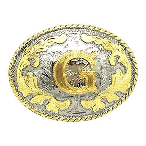 HUABOLA CALYN Western Belt Buckle Initial Letters ABCDEFG to Y-Cowboy Rodeo Gold Large Belt Buckle for Men and Women (G)