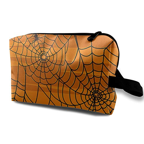Jingclor Travel Case Cosmetic Storage Bags Scary Halloween Spiders Graphics Makeup Clutch Pouch Zipper Wallet Pencil -