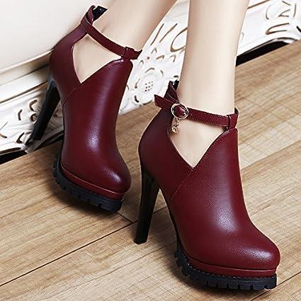 AJUNR-Zapatos De Mujer De Moda 11Cm Rojo Elegante Cuero Zapatos Zapatos De Mujer Oto/ño Nueva Versi/ón Coreana De La Multa High-Heeled Salvajes Con La Moda Mujer Zapatos Rojo 34