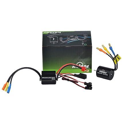 Jrelecs 2430 7200KV 4P Sensorless Brushless Motor with 35A Brushless  ESC(Electric Speed Controller)for 1/16 1/18 RC Car Truck (2430 7200KV)