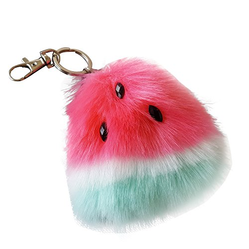 SUPPION Watermelon Rabbit Fur Ball Keychain Bag Plush Car Key Ring Car Key Pendant (Hot Pink) (Key Keychain)