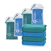 U-pick 4 Packs Cooling Towel (40″x 12″),Ice Towel,Microfiber Towel,Soft Breathable Chilly Towel for Yoga,Sport,Gym,Workout,Camping, Fitness,Running, Workout & More Activities (2 Blue+2Lake Blue)