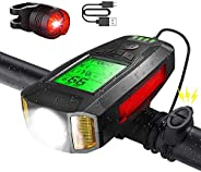 Bike Lights Rechargeable with Bicycle Speedometer Odometer, Super Bright Bike Headlight with Horn, IP6X Waterp