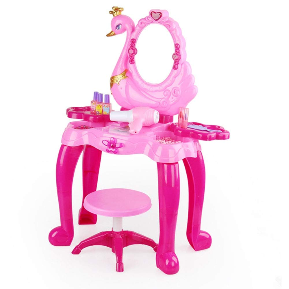 Children's Vanity Beauty Dresser Table Play Kids Makeup Table Pretend Dress Up Kids Vanity Set with Mirror and Bench Toy for Kids Girls (Color : Pink, Size : 702654CM)
