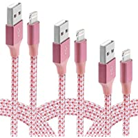 iPhone Cable,Firodo Lightning Cable 4Packs 3FT 6FT 6FT 10FT to USB Charger Syncing and Charging Cable Data Nylon Braided Cord for iPhone 7/7 Plus/6/6 Plus/6s/6s Plus/5/5s/6c/SE and more(Pink White)