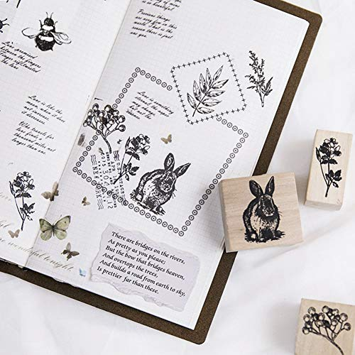 12pcs Wooden Rubber Stamps Animals and Plants Patterns Stamps Set for DIY Craft Card Scrapbooking Supplies by Co-link (Image #5)