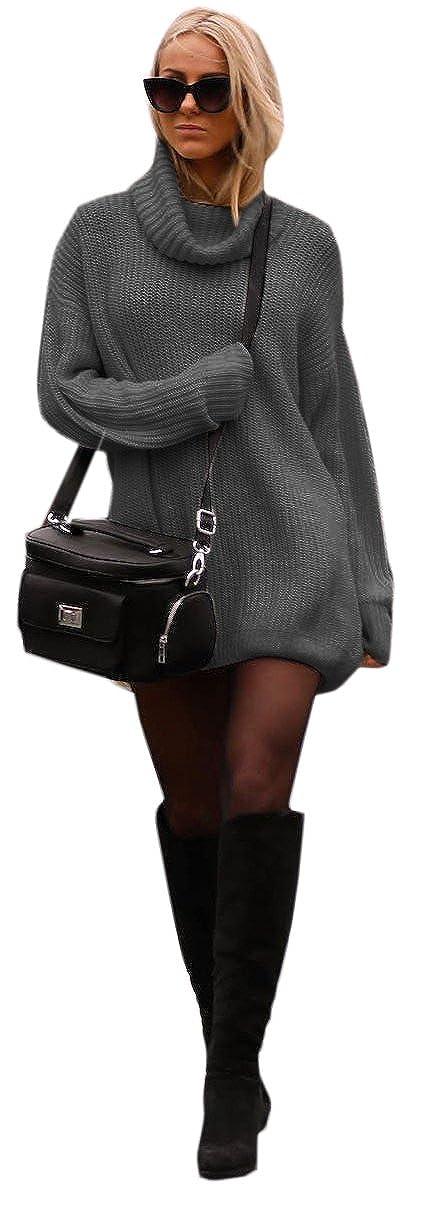 Bellissimo Carino Lungo Collo Alto Maglione Pullover Sweater Donna Ragazza 648