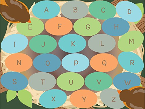ECR4Kids Robins Eggs Educational Alphabet Seating Rug for Children, School Classroom Learning Carpet, Rectangle, 9 x 12-Feet - Colorful Places Seating Rug