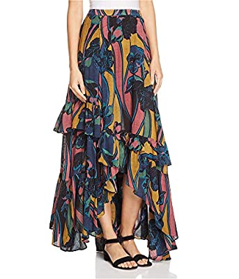Free People Womens Printed Tiered Maxi Skirt