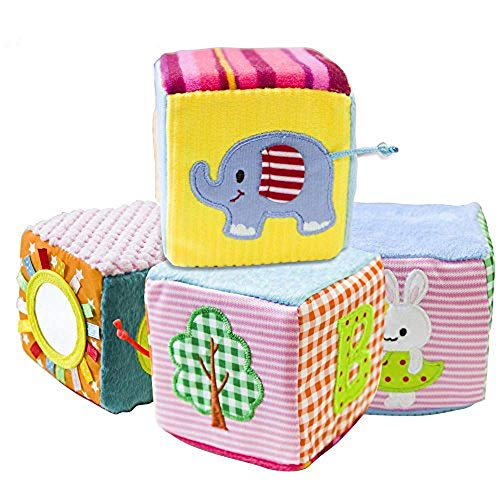Baby Shower Boy Blocks (teytoy Soft Rattle Baby Blocks Baby Building Blocks with Safety Mirror Cubes Gift Set)