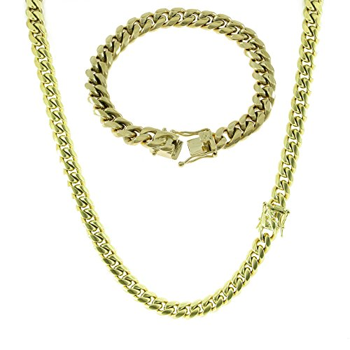 Heavy Bracelet Plated Gold Chain - HarlemBling 10mm Gold Miami Cuban Link Chain with 8.5