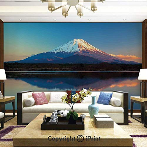 Wallpaper Nature Poster Art Photo Decor Wall Mural for Living Room,Mount Fuji and Lake Shoji Picture Clear Sky Sunset Photo Print,Home Decor - 66x96 inches