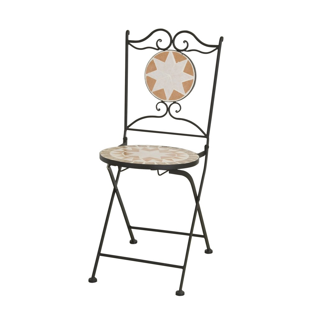 Siena Garden 659998 Klappstuhl Finca, 36x36x89cm, Gestell: Stahl, in schwarz matt, Fläche: Keramik in bunt