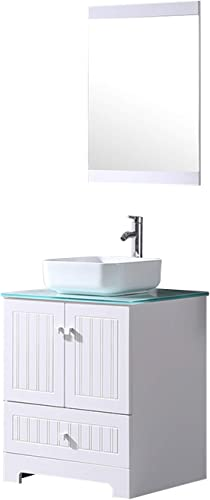 Sliverylake 24″ Bathroom Vanity Ceramic Vessel Sink Combo PVC Cabinet Blue Countertop Sink Bowl w/Mirror Set White Square