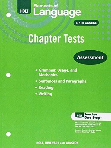 Elements of Language: Chapter Test Teacher Workbook
