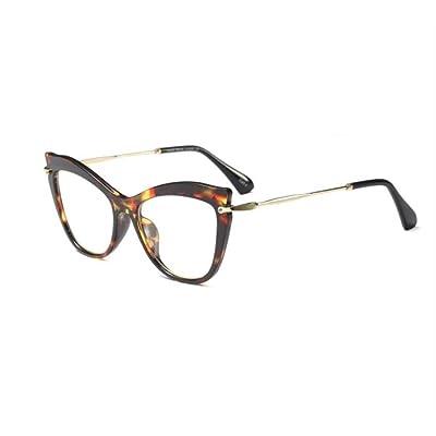 shengbuzailai Gafas Gafas de ojo de gato Gafas de montura de mujer Lentes transparentes transparentes Diseñador de moda Gafas de miopía para computadora A3: Ropa y accesorios