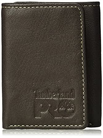 Timberland PRO Men's Leather Trifold Wallet with ID Window, Dark Brown/Fuller