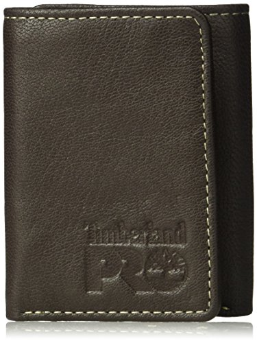 Timberland PRO Men's Leather RFID Trifold Wallet with ID Window, dark brown/Fuller, One Size