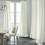 Leyden Versatile Pleat Solid Natural Linen White Lined Curtain Drapes Multi Size Available Custom (One Panel) 50Wx84″L