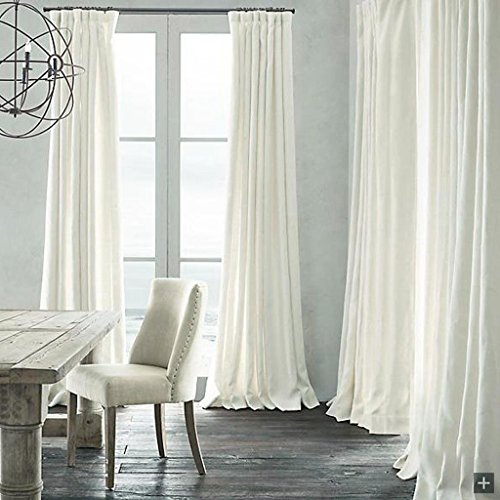 Natural Lined Curtains - Leyden Versatile Pleat Solid Natural Linen White Lined Curtain Drapes Multi Size Available Custom (One Panel) 50Wx96