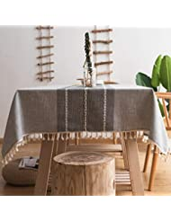 fiercewolf Linen Rectangle Tablecloth Tassel Table Cloth Heavy Weight Cotton Fabric Dust-Proof Table Cover Kitchen Dinning, Rectangle/Oblong, 55 x 70 Inch, Gray