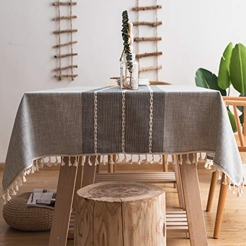 - fiercewolf Linen Square Tablecloth Tassel Small Table Cloth Heavy Weight Cotton Fabric Dust-Proof Table Cover for Kitchen Dinning, Square, 55 x 55 Inch, Gray