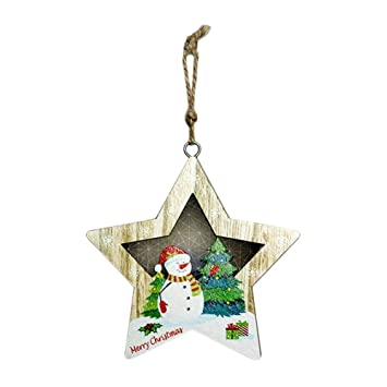 Amazon Com Christmas Ornaments Hanging Decorations Wood Slices
