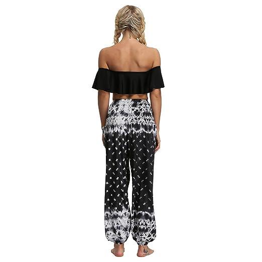 Memefood-mujer pantalones Hippies Tailandeses Estampado ...