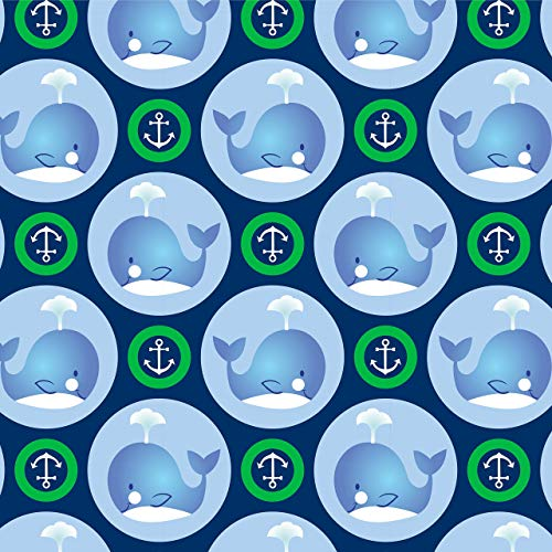 (Whales & Anchors in Green Circles Anti-Pill Fleece Fabric By The Yard)