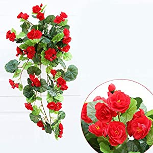 Tralntion Artificial Silk Begonia Flowers Vine Hanging Plant Vine DIY Garland Home 31